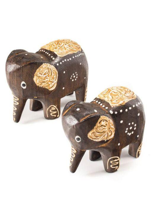 Set of 2 hand carved wooden elephants.
