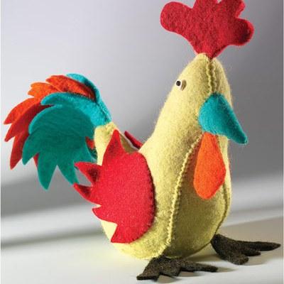 Felt rooster doorstop