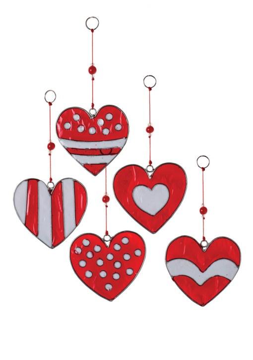 Red & White Heart Resin Sun catcher