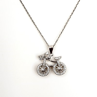 Sterling Silver & Cubic Zirconia Bicycle Necklace