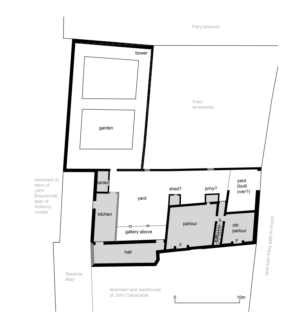 A ground floor plan of Thomas Cromwell's first house at Austin Friars