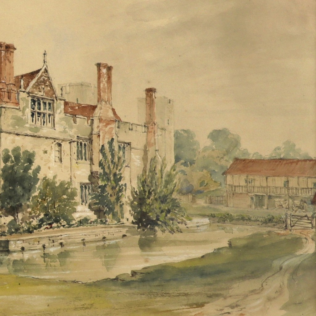 A watercolour of Hever Castle showing the front of the now demolished great barn.