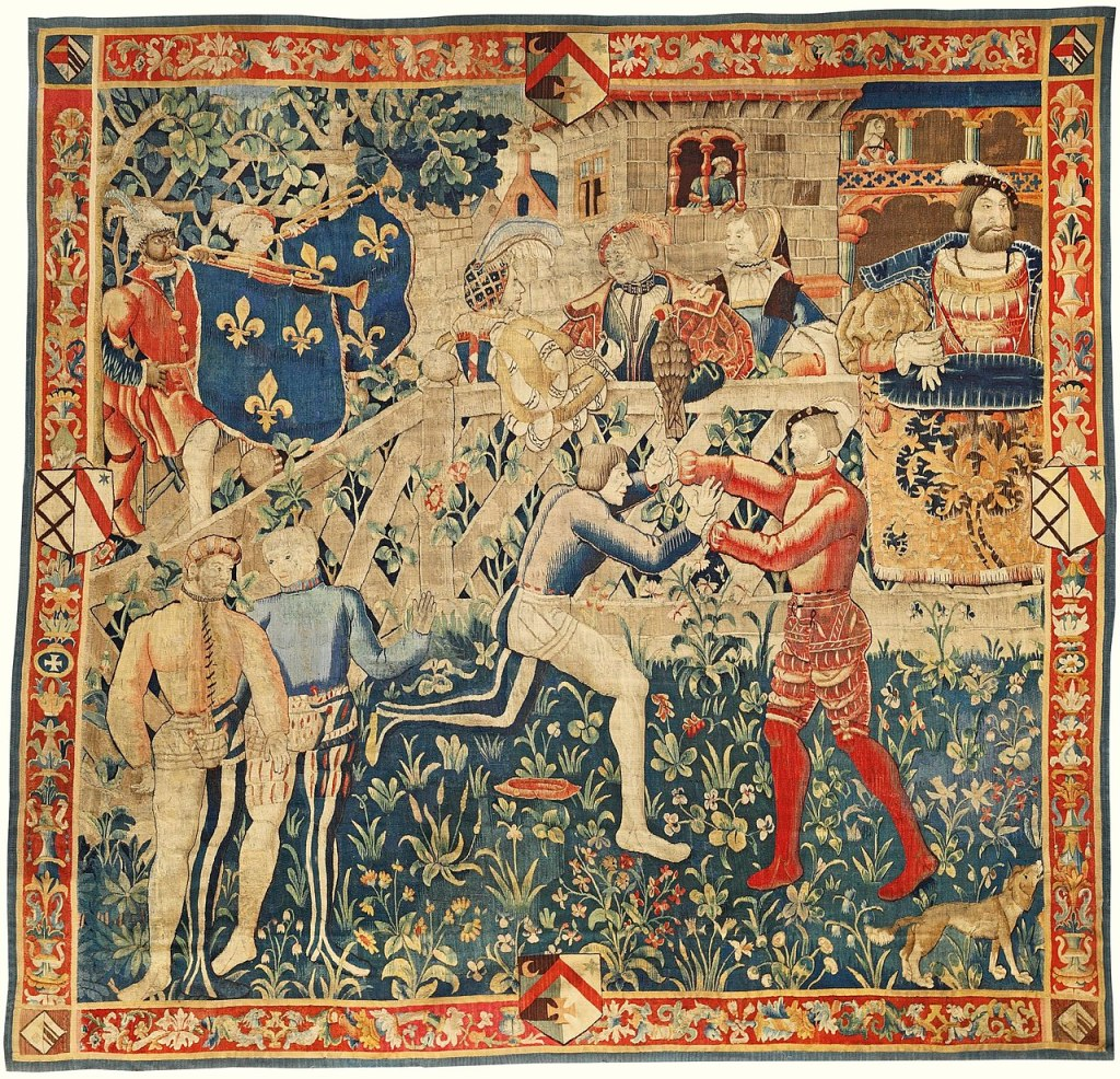 Image of a tapestry showing  two men wrestling and watched by onlookers.