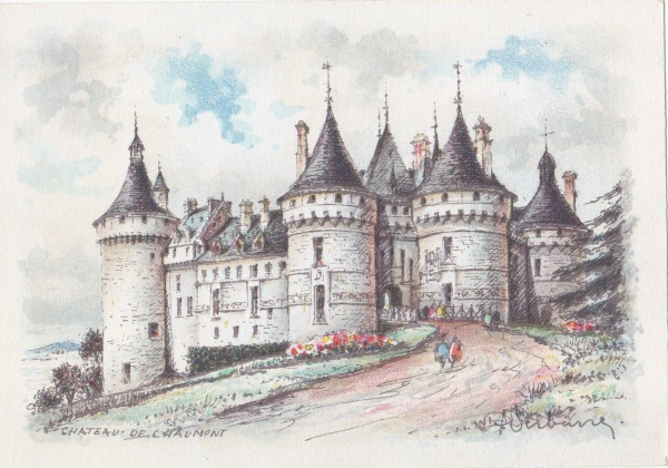 Anne Boleyn locations: Postcard image of the Chateau de Chaumont