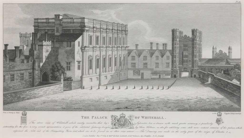 View of Whitehall Palace, looking south down King Street.