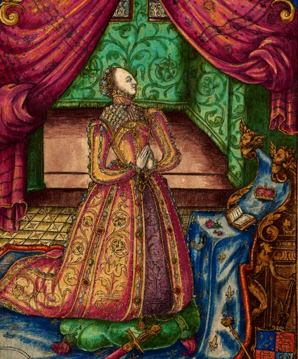 Elizabeth I kneels in prayer