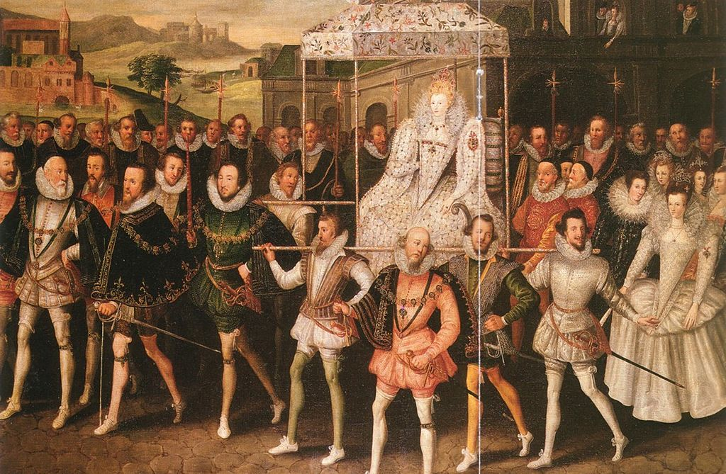 Elizabeth I is carried in a litter by her courtiers
