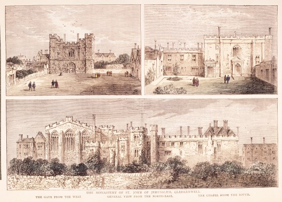 The Priory of St John in Clerkenwell. Etching by W. Hollar
