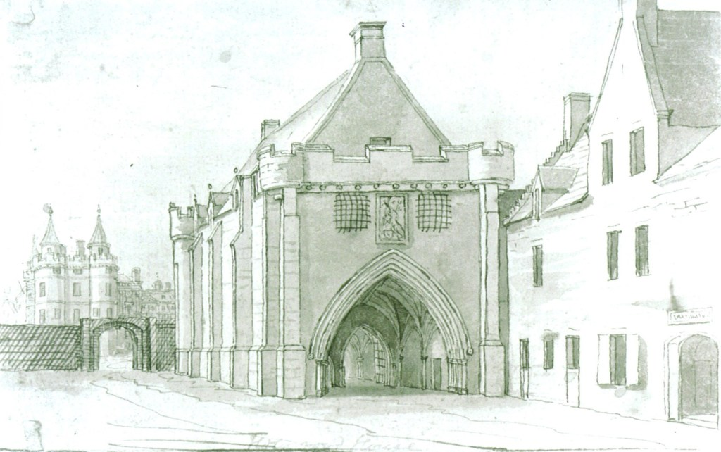 A black and white drawing of the gatehouse at Holyroodhouse with the James V tower in thebackground.