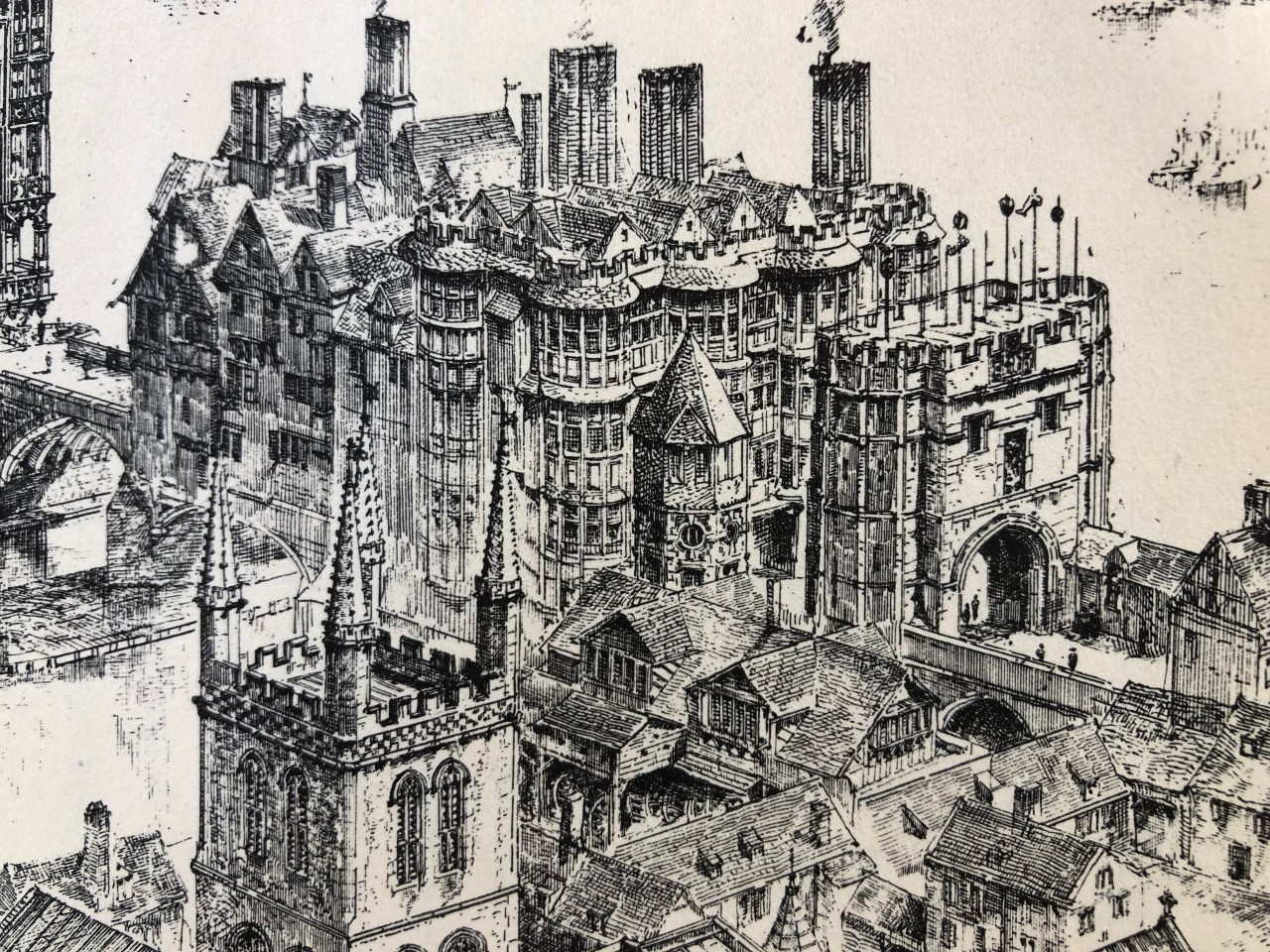A close up of the buildings on Old London Bridge