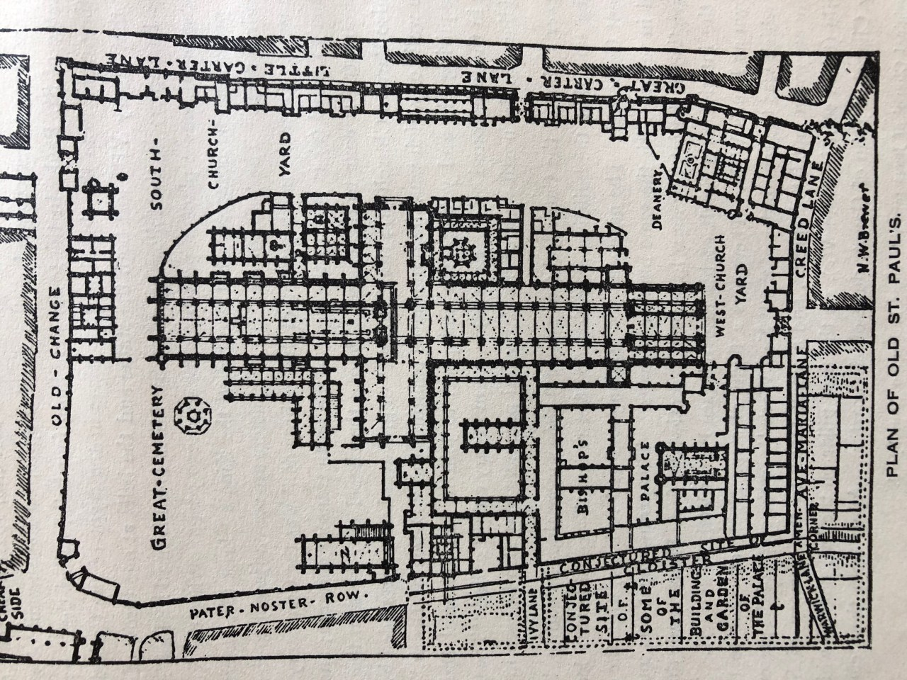 Plan of Old St Paul's showing The Bishop of London's Palace