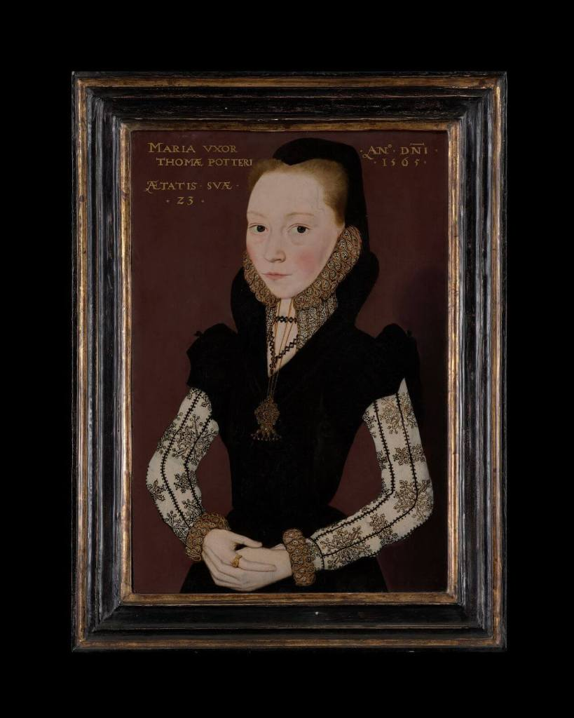 Tudor art- Mary Potter, by MASTER OF THE COUNTESS OF WARWICK,1565, Oil on panel, on display in the Love's Labour's Found Exhibition at the Philip Mould & Co Gallery.