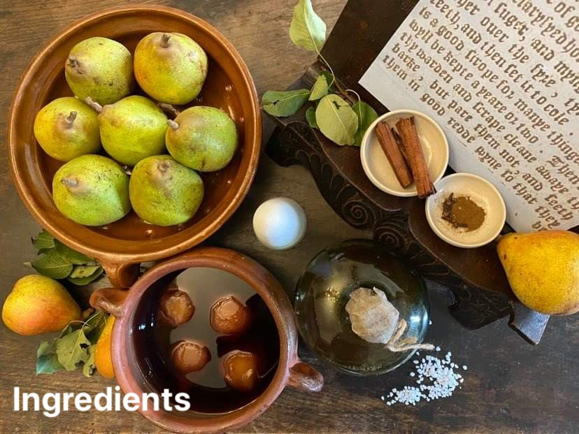 The ingredients for Tudor pears in conserve