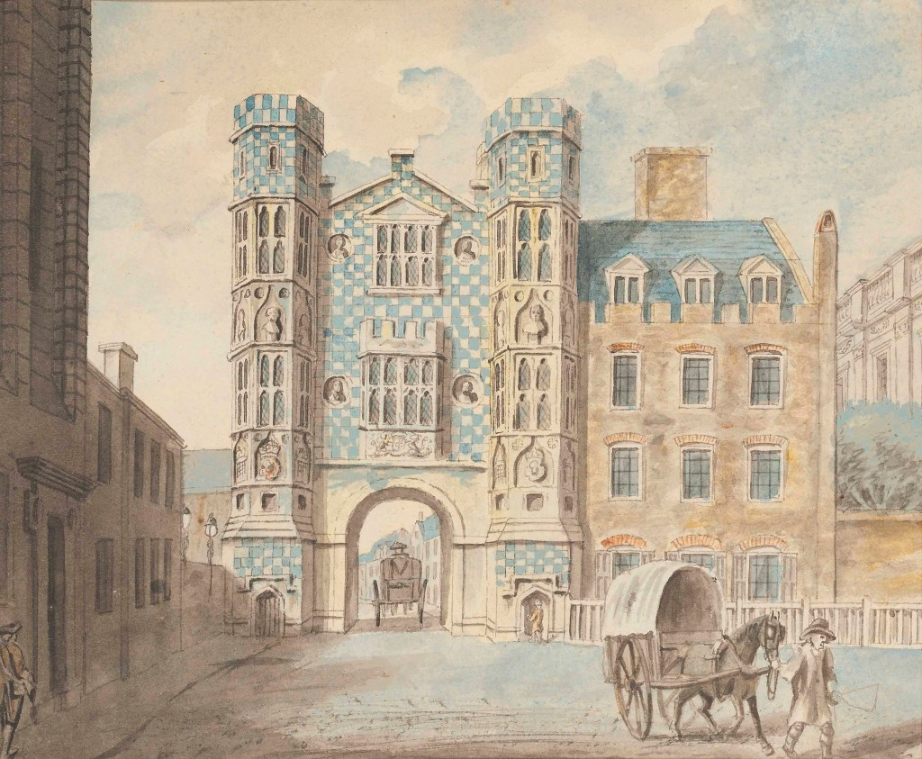Watercolour of the Holbein Gate, showing the chequerboard effect of the flint and stone with which it was decorated
