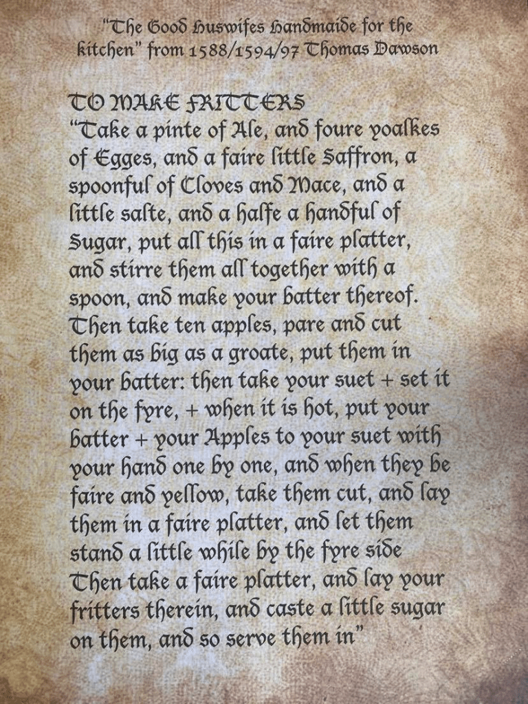 A page of old text - recipe for Tudor apple fritters
