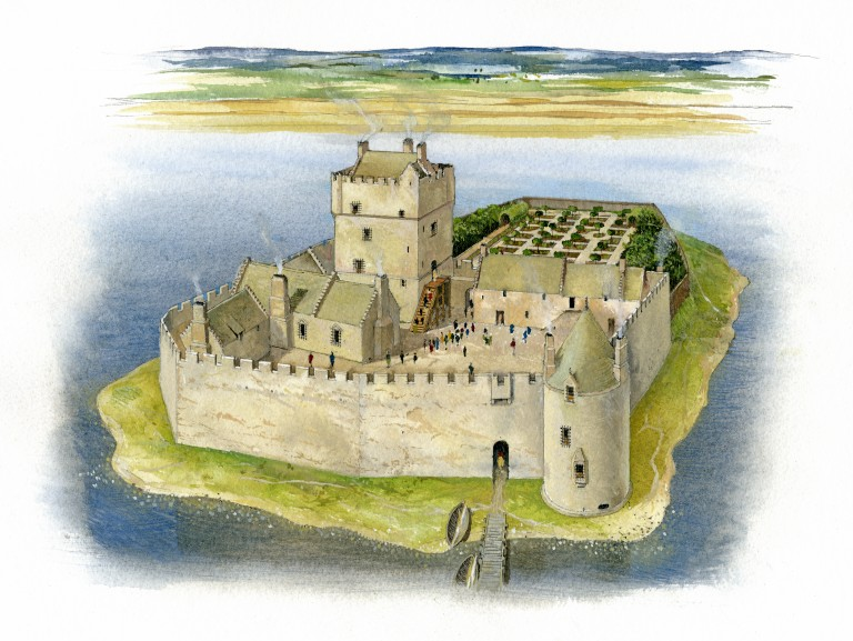A reconstruction of Loch Leven Castle