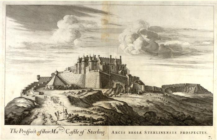 Drawing of Stirling Castle on the hill.