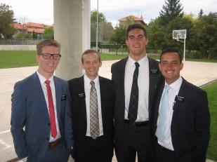 elder Turner, elder Jones, elder Sedgwick and elder Cifuentes - the might Vitoria district missionaries