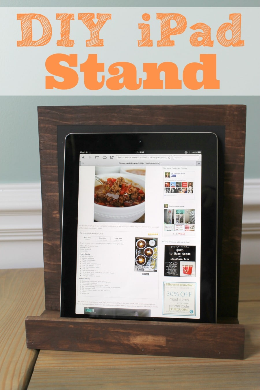 DIY Chalkboard IPad Stand The Turquoise Home