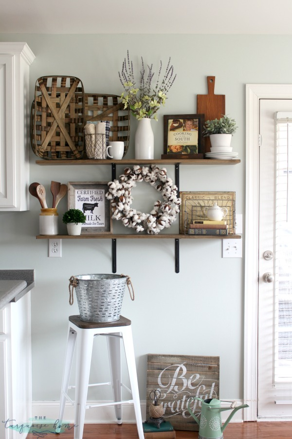Decorating Shelves in a Farmhouse Kitchen LOVE these tips for styling shelves  These  40 DIY shelves were transformed  with some old
