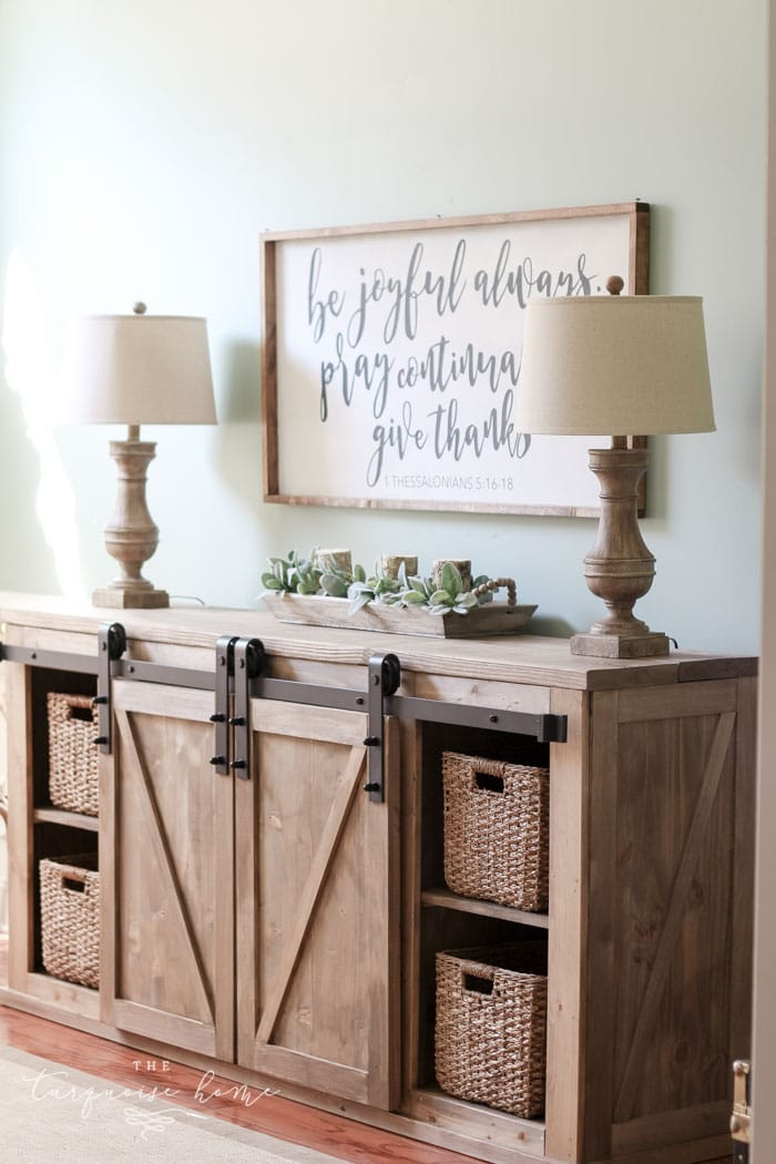Diy Farmhouse Media Console Table The Turquoise Home