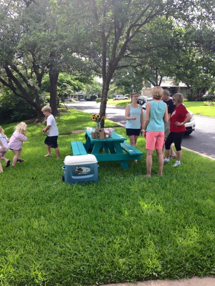 Back to Basics. The Turquoise Table provides a way for a busy family to get back outside.