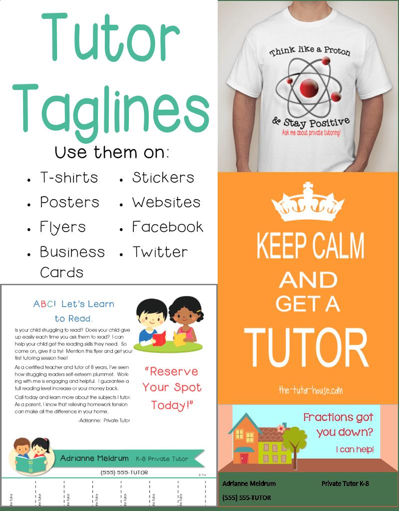Tutor Tag Lines (Marketing Tool) - The Tutor Coach
