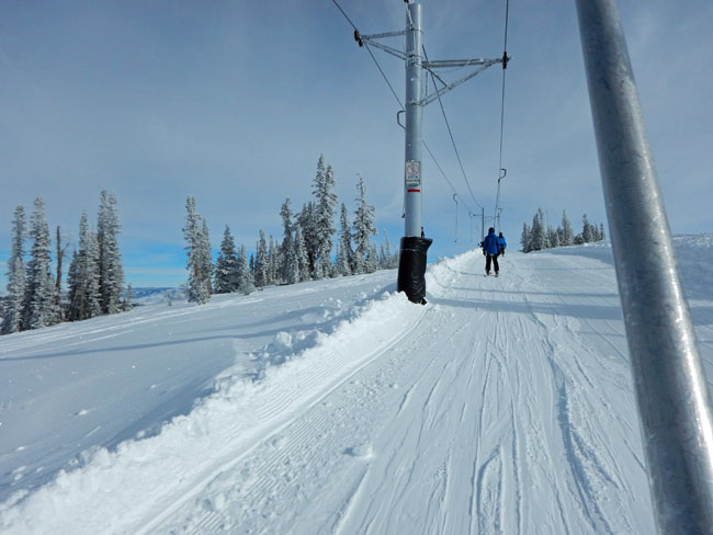 Riding the poma lift at Powder Mountain was no problem!
