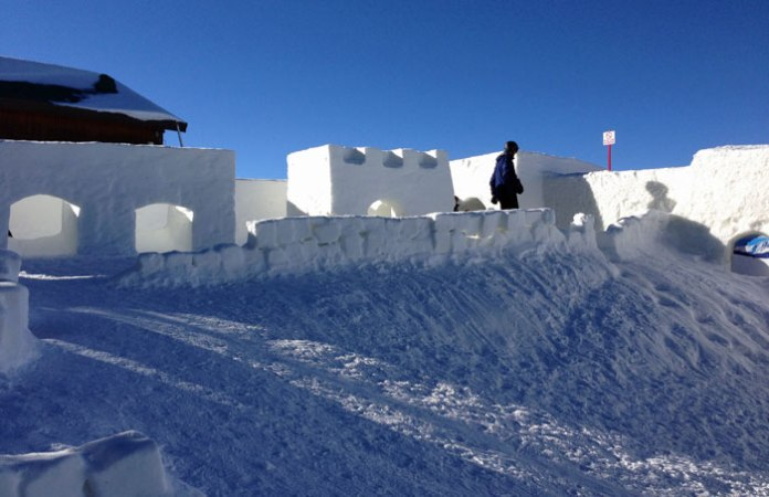 Keystone's giant snow fort is fun for all ages.