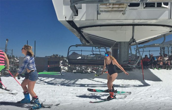 Spring skiing in a bathing suit! Squaw Valley, CA.