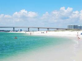 White sand beaches in Gulf Shores and Orange Beach, Alabama.