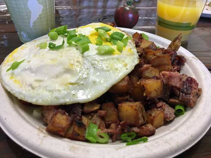 Corned beef hash and egg.