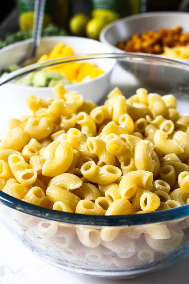 Macaroni in a glass bowl.