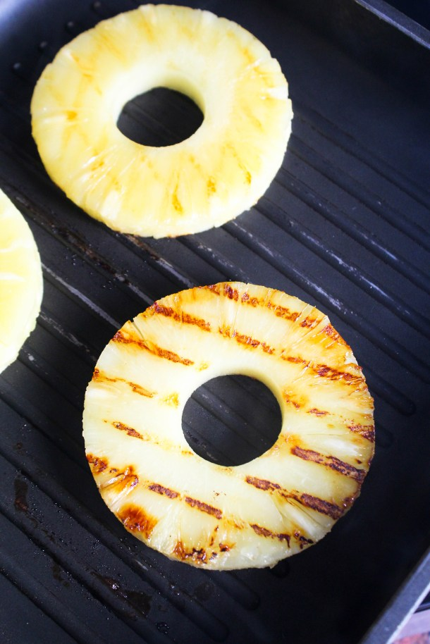 Pineapple slices on a grill pan