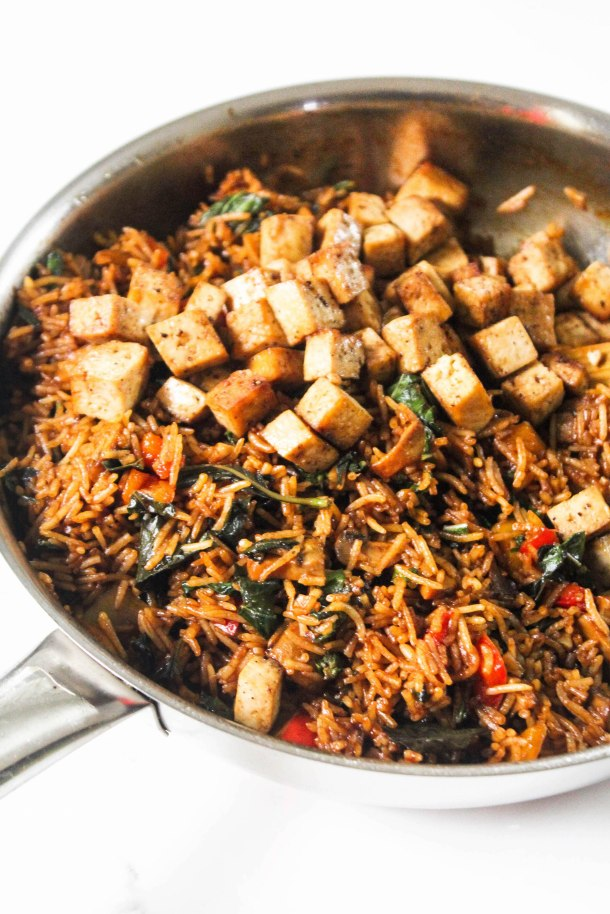 Asian Basil Rice with Mushrooms, Tofu and Peppers in a pan