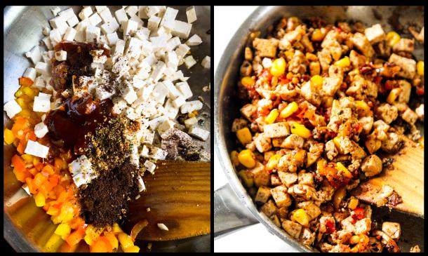 Chipotle tofu scramble in a frying pan.