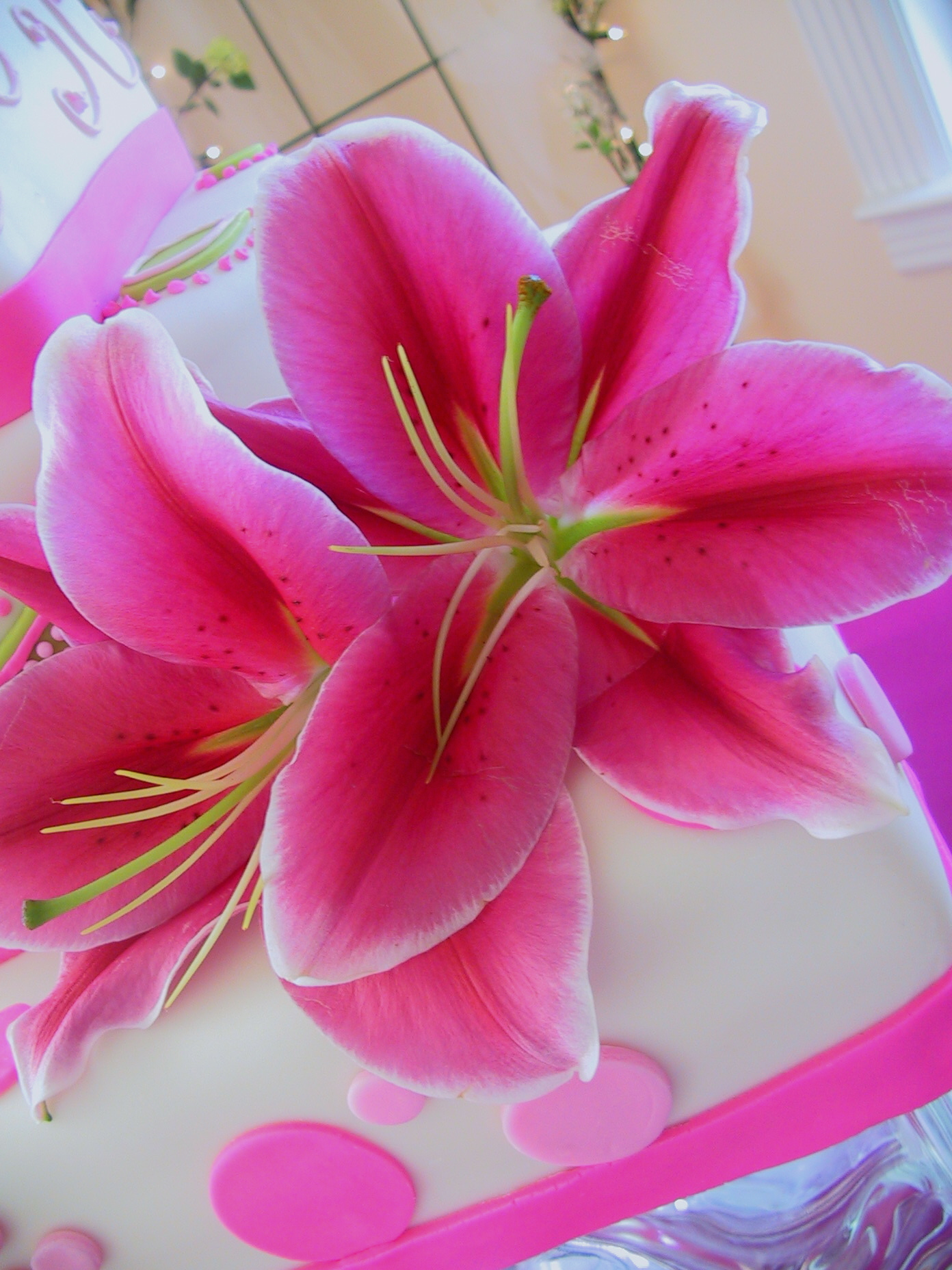whimsical hot pink lillies