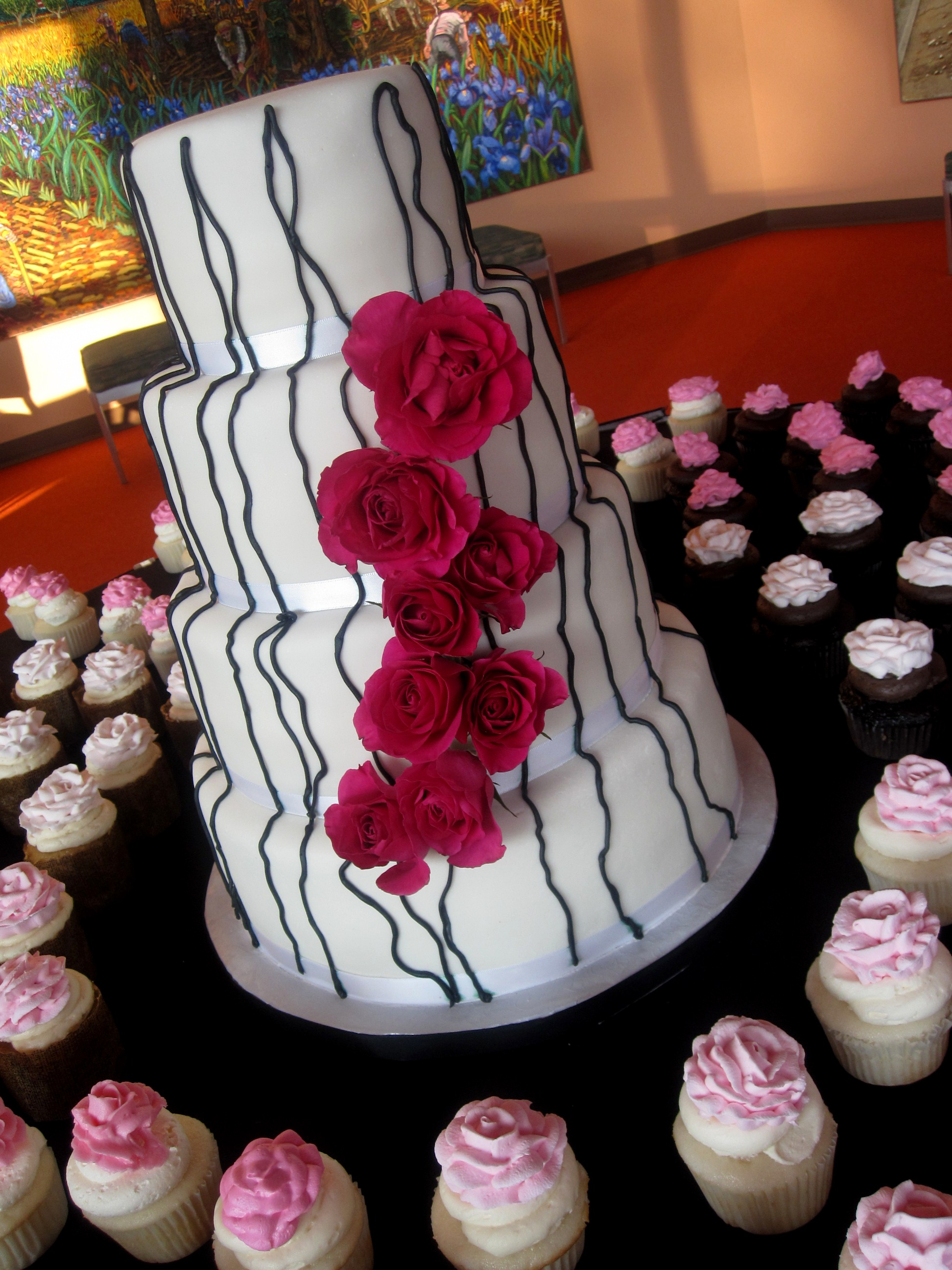 Black White And Pink Roses Contemporary Wedding Cake