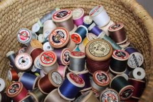 old vintage wooden thread cotton reels