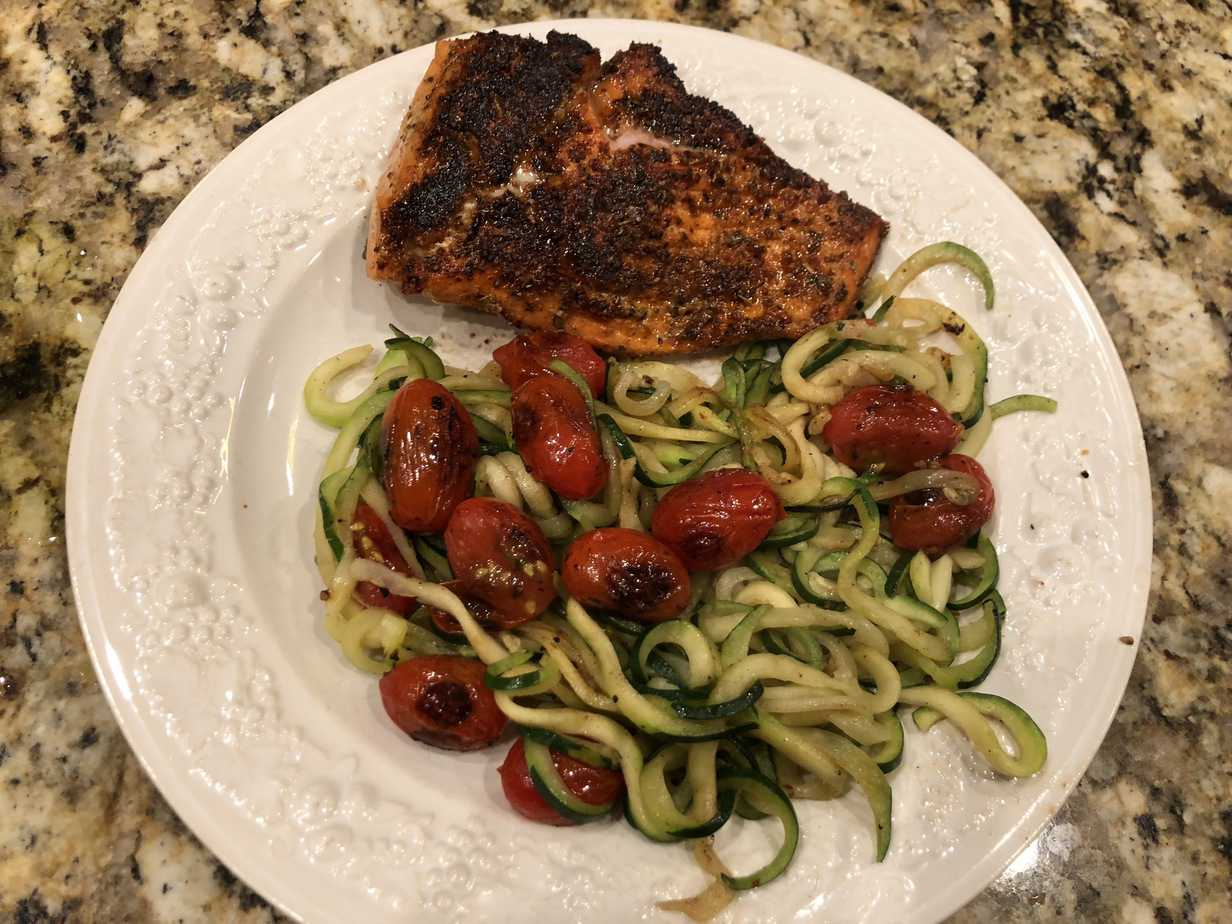 Low Carb Blackened Salmon with Blistered Tomatoes and Zucchini Noodles