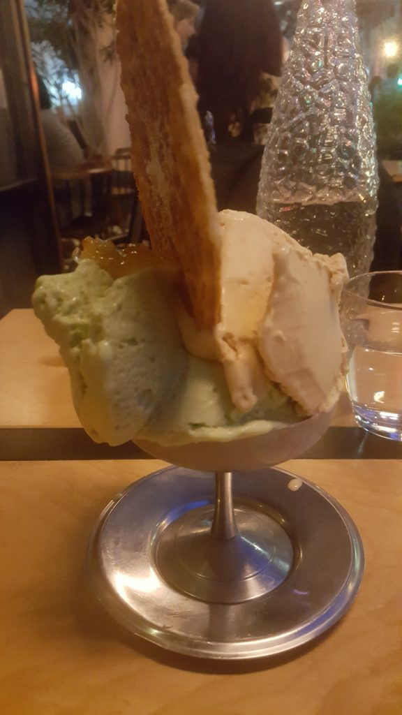 Home-Made Gelato: Hazelnut Frangelico and Pistachio-Orange Marmalade.