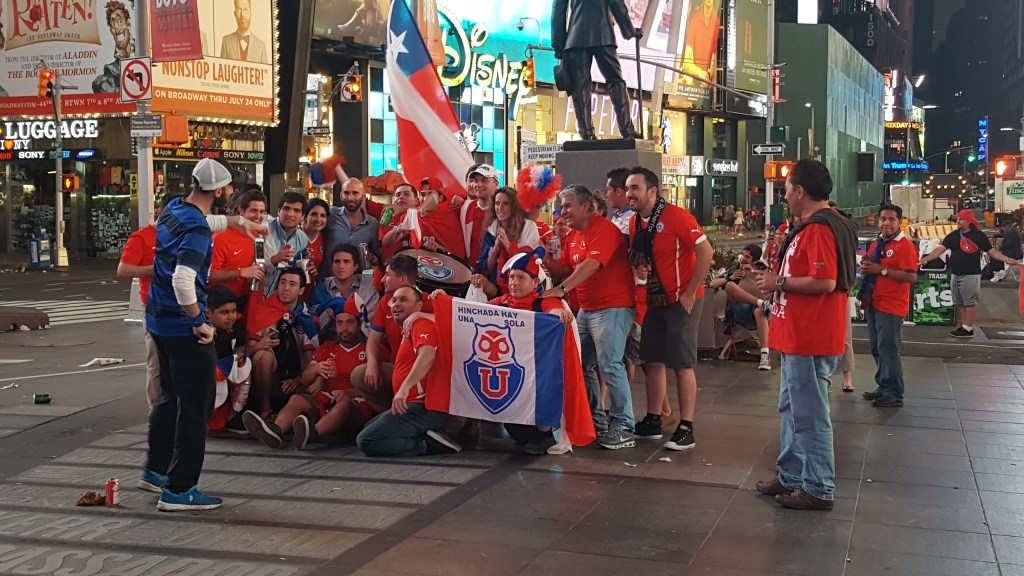 Chile Fans Celebrating in Times Square at 4am!