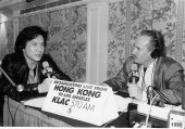 Interviewing Jackie Chan in Hong Kong. Live broadcast back to LA -1990
