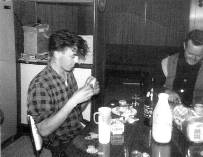 Howard and Sheldon pigging out at my place - 1966