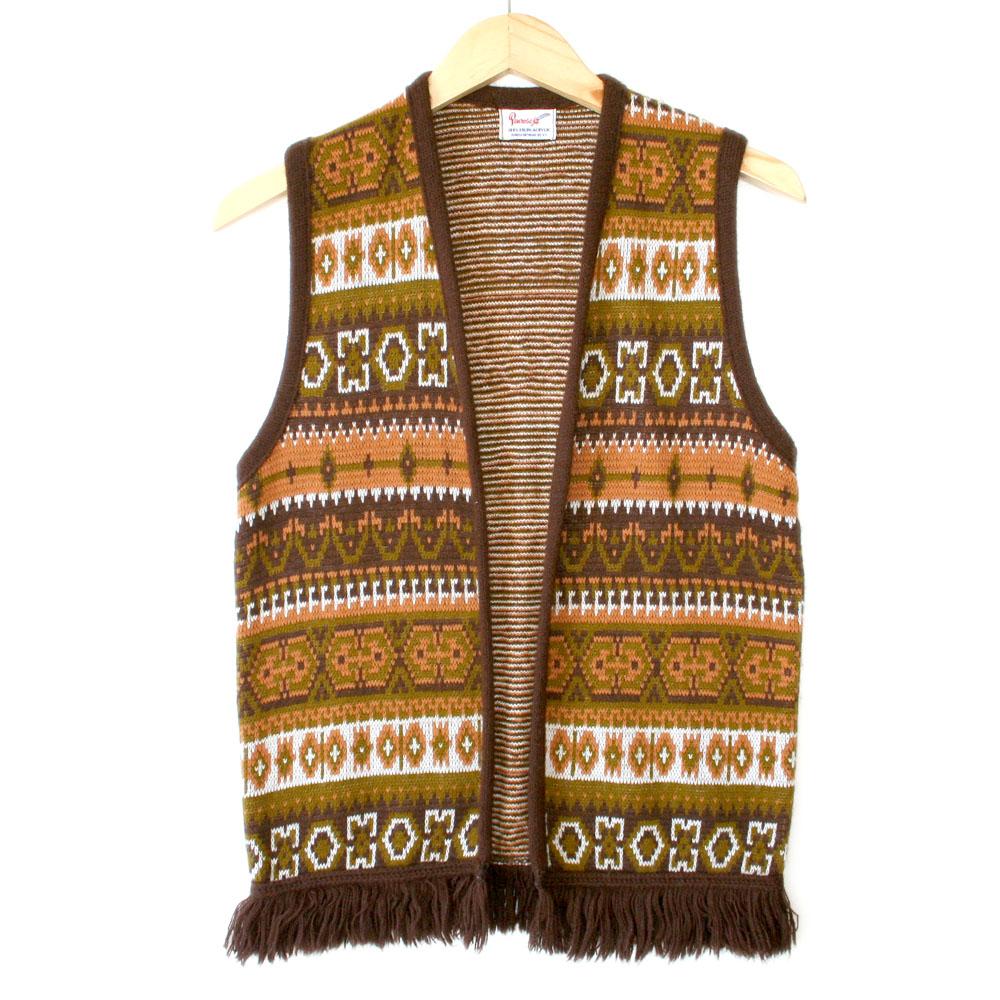 Vintage 60s70s Tribal Aztec Boho Hippie Fringe Ugly