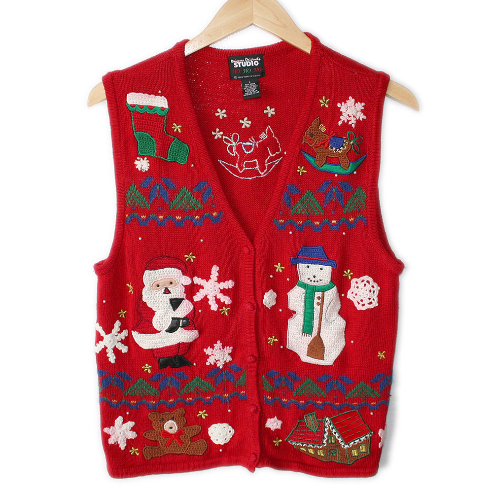 Santa Snowman And A Burro Ugly Christmas Sweater Vest