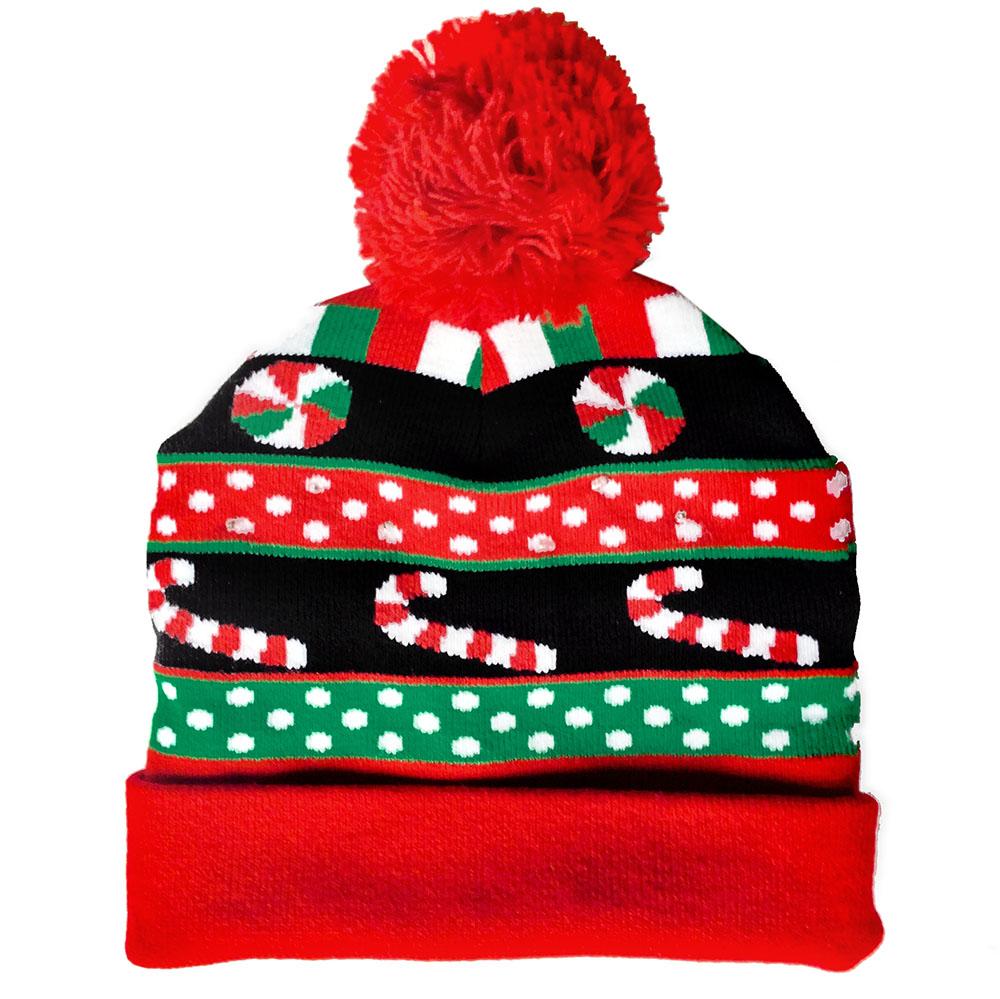 Light Up Christmas Candy Pom Pom Hat Stocking Cap The