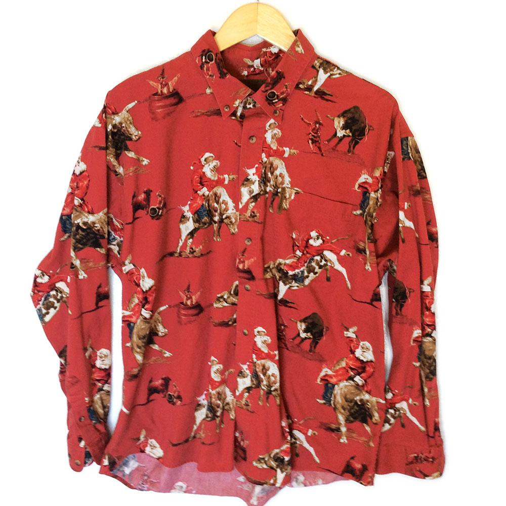Rodeo Bull Riding Cowboy Santa Ugly Christmas Shirt The