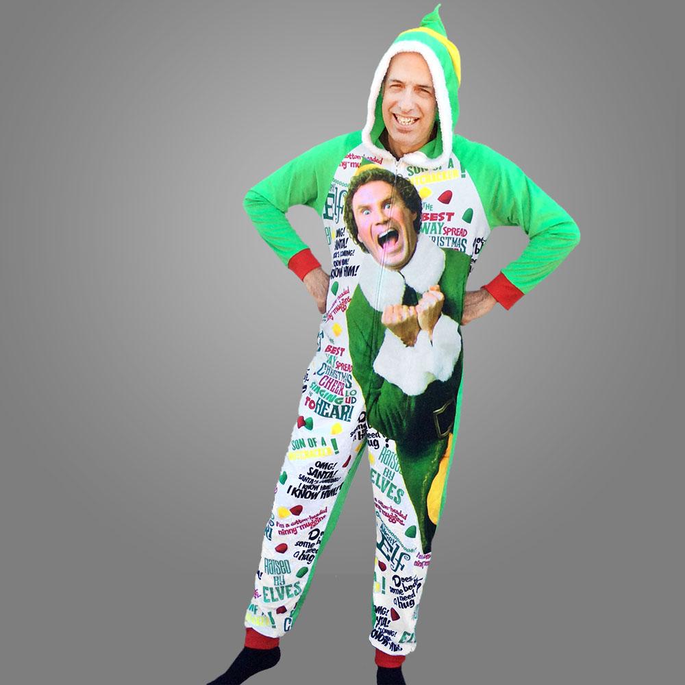 Buddy The Elf Graphic Union Suit One Piece Onesie Pajamas