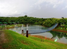 The hanging bridge with a lake